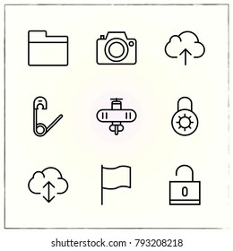 Office line icons set photo and pin