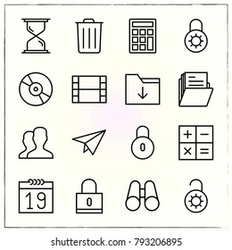 Office line icons set plane and video