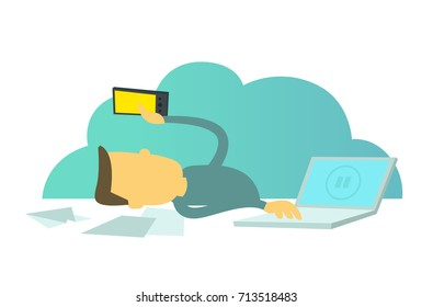 Office loafer. Social networks distract from work. Worker with a smartphone. Break pause in work. Office lounger workers.