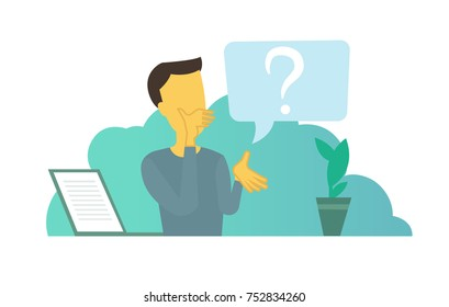 Office man with big question. Problem and solution search think businessmen Vector flat illustration