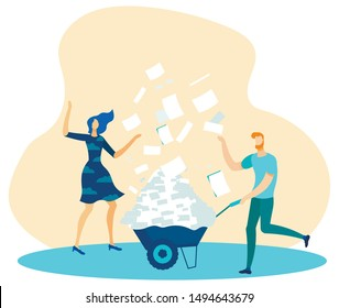 Office Man Company Worker Carrying Trolley with Documents. Woman Coworker Standing under Paper Rain. Paperwork, Overload, Deadline. Heard Teamwork. Metaphor Flat Cartoon. Vector Illustration