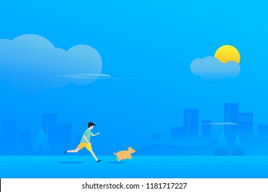 An office man and his fat dog are running outside in the morning, Excercise day concept with cool color tone. Cloud , sun and building background in blue shade.