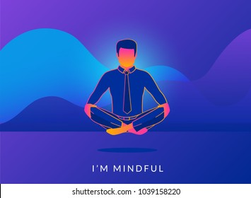 Office man sitting in calm lotus pose and relaxing with analytics graphs behind. Gradient line vector illustration of young people meditating and thinking about mindfulness after hard working day
