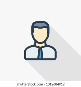 office man thin line flat color icon. Linear vector illustration. Pictogram isolated on white background. Colorful long shadow design.