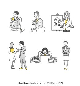 office man and woman business people line drawing character vector illustration flat design