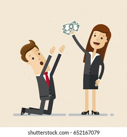 Office man worker ask business woman boss to increase salary. Man in suit kneels  and woman hold money in her hand. Vector, illustration, flat