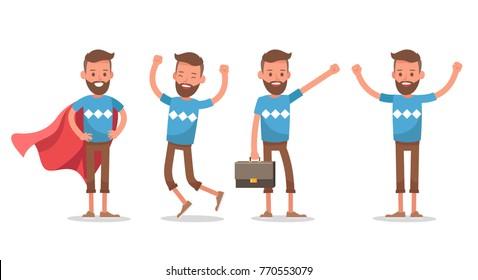 Office man worker character vector design.