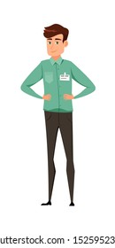 Office manager flat vector illustration. Young caucasian workman in uniform cartoon character. Shop assistant employee. Standing chauffeur, corporate worker. Smiling man keeping hands on waist