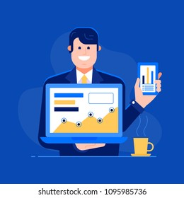 Office manager presenting new features to clients illustration. Successful businessman or office manager showing profit and growing chart on presentation. Grow your business concept.