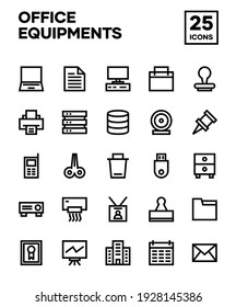 Office material icon set with line style. Including computers, laptops, printers, air conditioners, consoles, and office tools. Editable stroke vector
