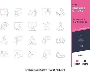 Office, meeting, workshop and presentation line and editable icon set