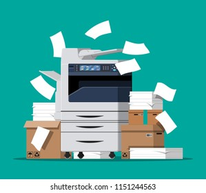 Office multifunction machine. Pile of paper documents, boxes and folders. Bureaucracy, paperwork, office. Printer copy scanner device. Proffesional printing station. Vector illustration in flat style