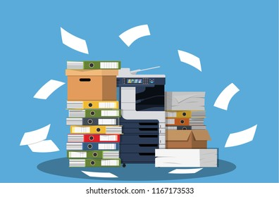 Office multifunction machine. Pile of paper documents, boxes and folders. Bureaucracy, paperwork, office. Printer copy scanner device. Professional printing station. Vector illustration in flat style