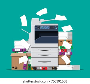 Office multifunction machine. Pile of paper documents, boxes and folders. Bureaucracy, paperwork, office. Printer copy scanner device. Professional printing station.