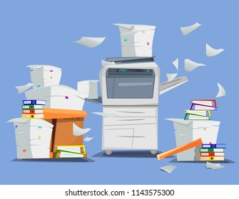 Office multifunction printer scanner. Copier with flying paper isolated on background. Copy machine with pile of documents, stack of papers in cardboard boxes. Vector cartoon illustration. Flat design