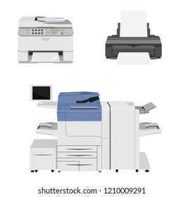 Office multifunction printer scanner. Copier paper isolated on background. Copy machine and printers. Documents. Vector cartoon illustration. Flat design