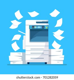 Office multifunction printer scanner. Copier with flying paper isolated on background. Copy machine with pile of documents, stack of papers. Vector cartoon illustration. Flat design