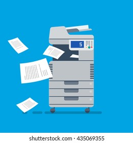 Office Multi-function Printer  scanner.  Isolated Flat Vector Illustration