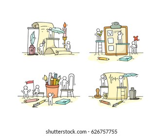 Office objects set with working little people. Doodle cute miniature scenes of workers with stationery. Hand drawn cartoon vector illustration for business and school design.