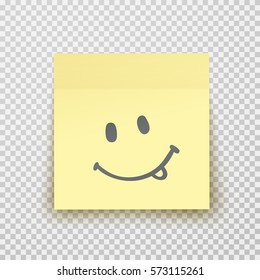 Office paper sheet or sticky sticker isolated on a transparent background. Vector yellow post note with cute smiley happy face for your design