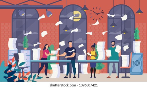 Lot of Office Paperwork, Bureaucracy Flat Vector Concept with Company Employees Sorting, Analyzing and Organizing Paper Documents, Reading Correspondence, Trying to Finish Work at Time Illustration