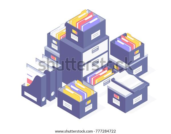 Bürounterlagen. Dokumente und Dateiordner in Büchern. Vektorgrafik