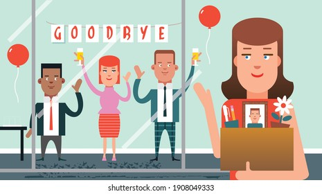 Office party to say farewell or goodbye to employee or coworker leaving work or retiring from work