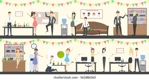 Office party set. Holiday corporate dinner and buffet. All staff in celebrating hats. Office with decoration.