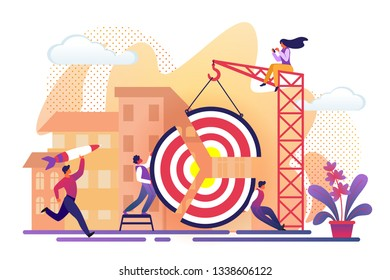 Office People Assembling Huge Target Pieces Using Building Crane on City View Background. Men Working for Business Success. Guy Throw Rocket in Aim. Girl Sit on Top. Cartoon Flat Vector Illustration.