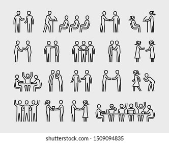 Office People in Business Process, Human Resources and Management, Team Work vector thin line icons set
