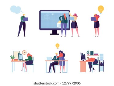 Office People Character Work Set. Man Woman Professional Employee Team. Different Businessman Meeting at Laptop. Startup Person Collection Flat Cartoon Vector Illustration