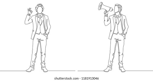 Office people concept. Business man showing ok hand sign and announcing with loudspeaker. Continuous line drawing. One line drawing. Vector illustration.