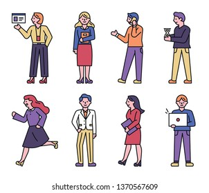 Office people doing business. flat design style minimal vector illustration
