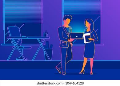 Office people talking about project development. Gradient line vector illustration of project brainstorming between two business colleagues. Man showing presentation on laptop to female business woman