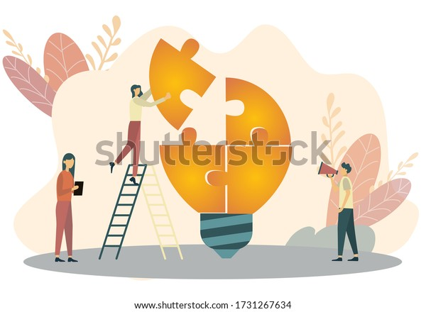 Office People Work Together Setting Up Huge Lightbulb Separated on Puzzle Pieces Standing on Ladders. Businesspeople Teamwork. Cartoon Flat Vector Illustration