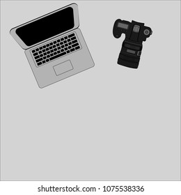 Office photography desk table with laptop, tablet, camera . Top view with copy space.Vector illustration