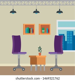 office places scenes with chairs