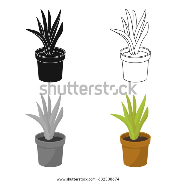 Office plant in th flowerpot icon in cartoon style isolated on white background. Office furniture and interior symbol stock vector illustration.