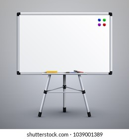 Office presentation whiteboard on tripod. Blank classroom white noticeboard 3d vector illustration. White board for presentation on tripod
