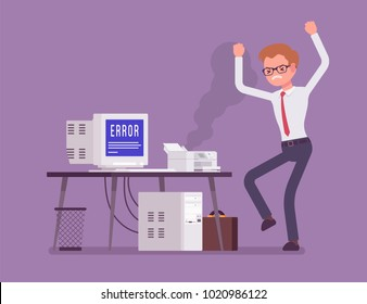 Office printer error. Angry worker feeling annoyance, displeasure with bad working old damaged device at workplace, stressed with not functioning wrong computer. Vector flat style cartoon illustration