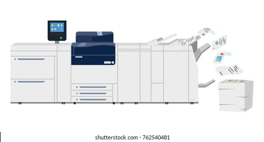 Office professional multi-function copy printer scanner. Isolated flat illustration