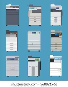 office public printer fax machine vector illustration flat design