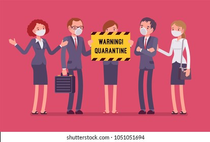Office quarantine warning. Team of workers in masks with note of isolation, danger of infectious, contagious disease, stop working to prevent spread of virus. Vector flat style cartoon illustration