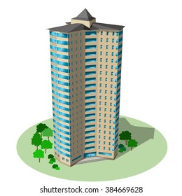 Office and residential skyscraper. Vector isometric building isolated on background.