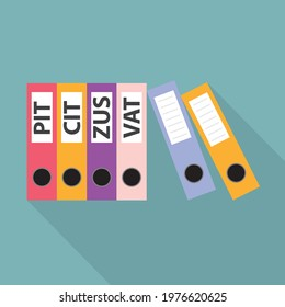 office ring binders with PIT, CIT, ZUS, VAT labels: concept of paying taxes and keeping accounts in a polish company- vector illustration