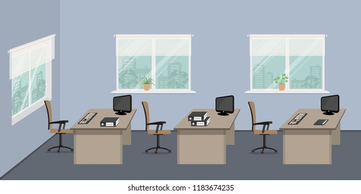 Office room in a blue color. There are desks, brown chairs, computers, folders, flowers and other objects in the picture. There is also three windows in the room. Vector illustration
