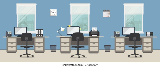 Office room in a blue color. Workplace of office workers with gray furniture on a windows background. There are desks, black chairs, phones, a printer, a clock and other objects in the picture. Vector