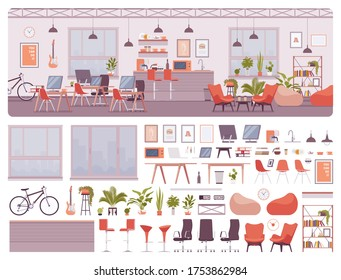 Office room, contemporary shared workspace, co-working space interior construction set with furniture, constructor element to make own environment design. Cartoon flat style infographic illustration