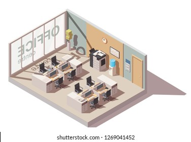 Office room with cubicle workplaces and office equipment. Vector isometric interior icon