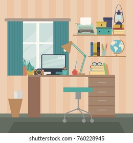 Office room. Desk with computer set documents and stationery. Modern workplaces. Flat style vector illustration.